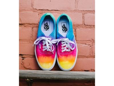Red ombré Vans Authentic dip dye skate shoes tie dye   Etsy