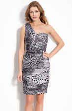 167d98a6e16 Tadashi Shoji BLACK WHITE GRAY Animal Print 1-Shoulder Sheath Dress 14  368  NWT Ruched