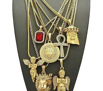 """ANGEL PENDANT 24/"""" 30/"""" BOX CHAIN NECKLACE COMBO SET S040 MENS Iced RED RUBY"""