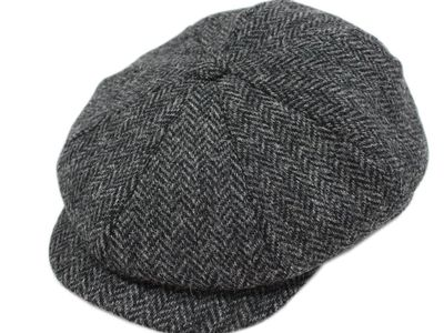 Nouveau Irish Tweed Cap 8 pièces anthracite Herringbone Made in Ireland John Hanly