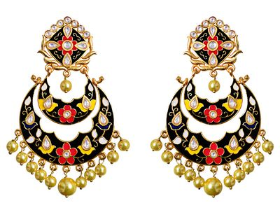 Dilan Jewels PURE Collection Paisley Shape Pink Colour Ethnic Indian Gold Plated Pendant Set For Women