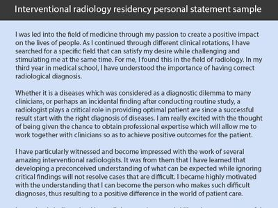 Radiology Fellowship Personal Statement Examples (sidneypetersen5