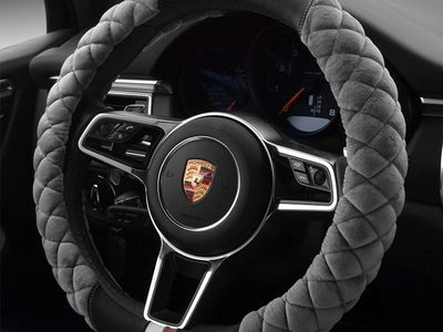 1PCS Fluffy Furry Plush Velour Interior Car Steering Wheel Cover Glove Black