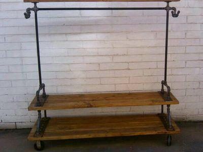 Clothing wood and metal rack