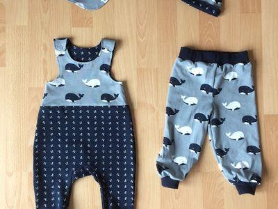 Baby Set Pumphose Hose Jeans Halstuch Mütze 3 teilig 56 62 68 74 80 86 Handmade