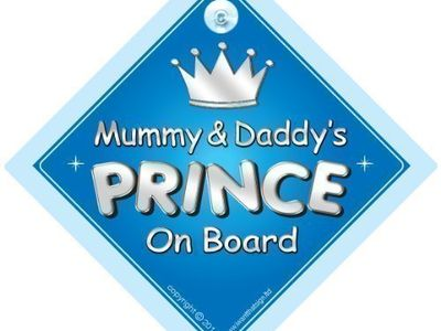Non Personalised Child//Baby On Board Car Sign ~ Daddys Prince On Board ~ L.Blue