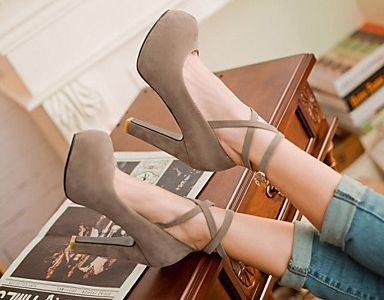 LIGHTBACK Fashion Womens Buckle Strap Flock Square Heel Round Toe Mary Janes Pumps