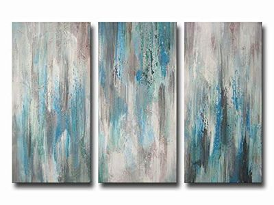 ARTLAND Modern 100/% Hand Painted Abstract Oil Painting on CanvasThe Maze Of Memory 3-Piece Gallery-Wrapped Framed Wall Art Ready to Hang for Living Room for Wall Decor Home Decoration 24x48inches