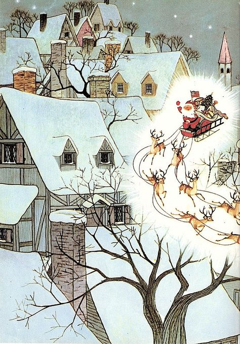 """""""The Night Before Christmas"""" by Clement C. Moore, illustrated by Gyo Fujikawa _1961"""