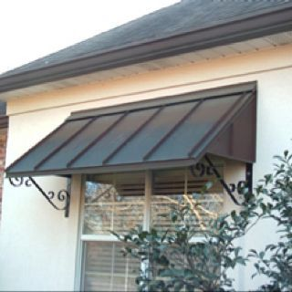 Metal Awning For Building Remove Curly Cues And Use Straight Lines For Linear Clean Look Metal Awnings For Windows House Awnings Windows Exterior