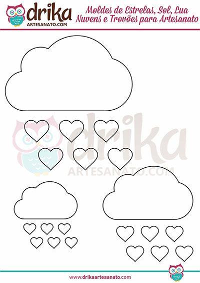 Moldes de Nuvens e Gotas em três tamanhos