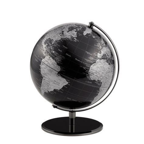 "STUNNING 8/"" ANTIQUE BLACK WORLD GLOBE METAL BASE ROTATING ATLAS NEW BOXED 29cm"
