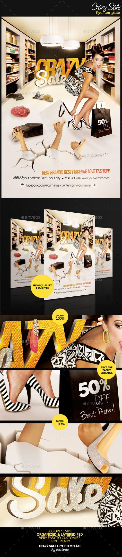 Crazy Sale Flyer Template / $6. ***This flyer is perfect for the promotion of Shops/Boutiques, Sales/Promotions, Fashion Shows, New Collections, Events or Whatever you Want!***.