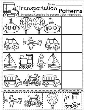 Transportation Worksheets | Preschool Worksheets | Transportation ...