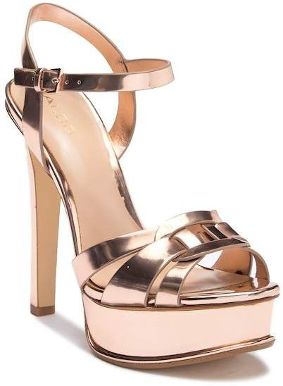 Gorgeous rose gold heeled sandals with