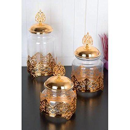 Set Of 3 Canister Set Candy Buffet Ceramic Cookie Jar Pot Jars