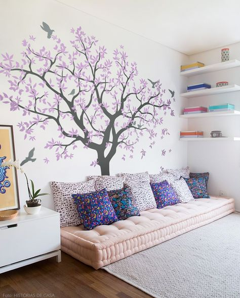 Beautiful family tree / Easy to stick / Will look beautiful in your living room   #livingroom #bigtree #grey #violet #lilac #leaves #birds #decal #Olivia #etsy #wallart