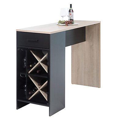 Pratique Pour Un Petit Espace La Table Bar Wine Chene Et Noir Mat Vous Permettra Un Rangement Pour Vos Bouteilles Brunch Cuisine But