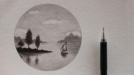 تعلم الرسم كيف ترسم منظر طبيعي سهل جدا بالرصاص تعلم الرسم رسم منظر طبيعي رصاص Pencil Art Drawings Art Pencil Portrait