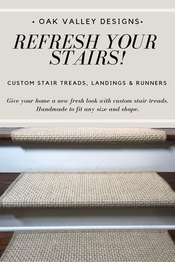 Custom wrap around carpet stair treads crafted by Oak Valley
