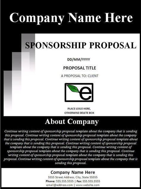 Sponsorship Proposal Template - I like the about section on the - how to write a sponsor proposal