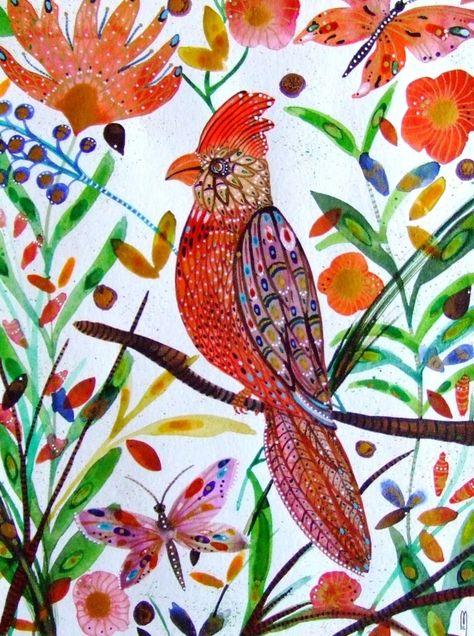 Perroquet Peinture Oiseau Exotique Aquarelle Originale Art