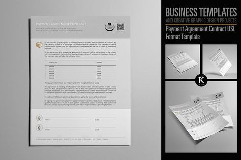 Payment Agreement Contract USL by Keboto on @creativemarket - valid contract essential elements