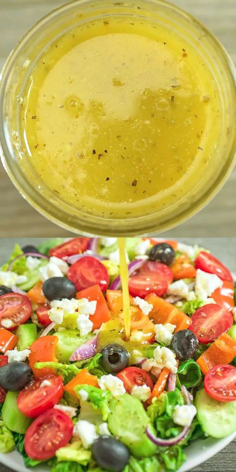Greek Salad Dressing – a wonderful addition to any salad. Made with simple ingredients, this dressing is tasty and easy to make! FOLLOW Cooktoria for more deliciousness! #salad #greek #lunch #whole30 #keto #ketosis #ketorecipe #glutenfree #dairyfree #saladrecipe
