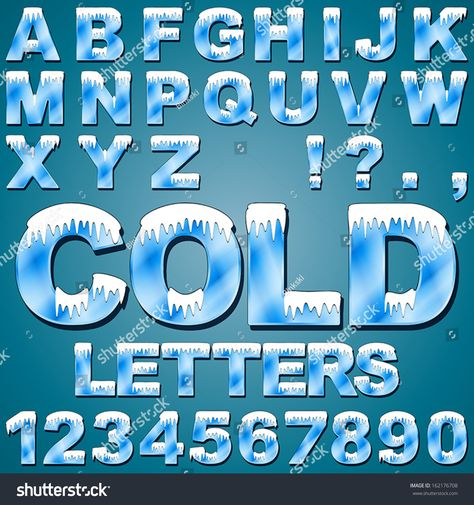 Hedendaags An Alphabet Set of Cold Letters and Numbers with Snow and Ice HY-83