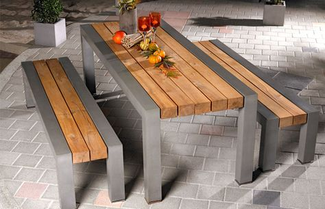 dining table and benches made from concrete and wood