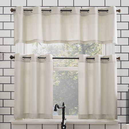 Mainstays Solid Grommet 3 Piece Kitchen Curtain Tier And Valance Set Size 54 X 24 Beige Kitchen Window Coverings Kitchen Curtains Kitchen Curtain Sets
