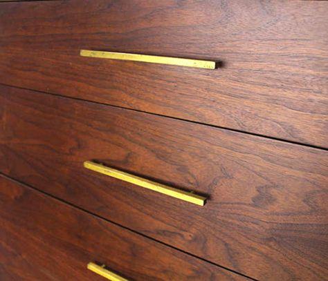 Vintage Furniture Handles Replica Mid-century Furniture Handles Cup Drawer Pulls Set of 3 Recessed Drawer Handles Wooden Flush Handles