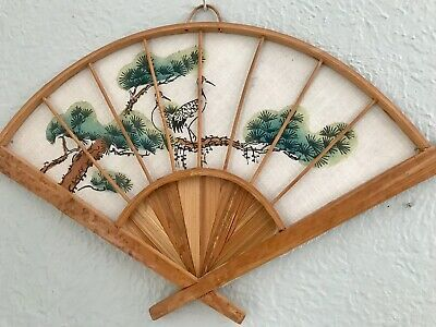 Vintage FAN 1950s silk hand painted fan with bamboo handle  and bird on bamboo  design