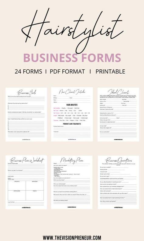 Hair Stylist Business Kit// Hair Stylist Business Forms// Hair Stylist Forms// Printable Business Forms// Hair Stylist Forms// Business Plan