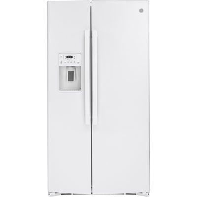 Ge 36 25 1 Cu Ft Side By Side Refrigerator With Water Ice Dispenser Gss25ignww White In 2020 Side By Side Refrigerator Cool Things To Buy