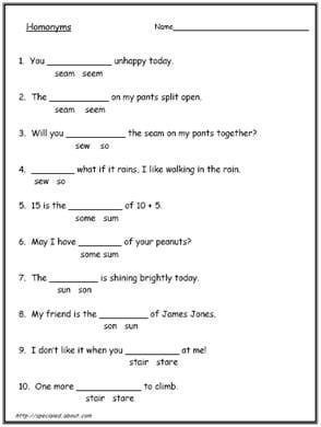 200 Homonyms Homophones And Homographs With Exercises With