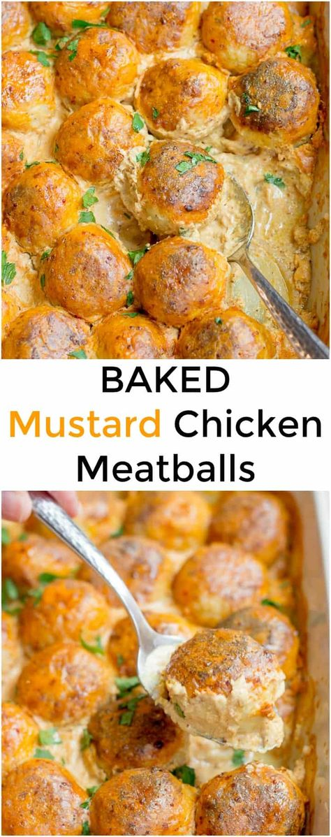 The secret to my yummy Baked Chicken Meatballs is a simple sauce made of sour cream and yellow mustard. These easy meatballs are comforting and satisfying, perfect for busy weeknight meals. Freezer-friendly and great for meal prep. #meatballls #dinner #dinnerrecipes #comfortfood #soulfood data-lazy-srcset=