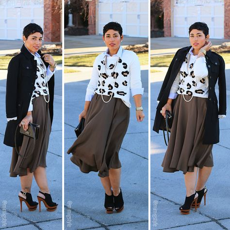 DIY MIDI SKIRT AND SPOTTED SWEATER - Mimi G Style