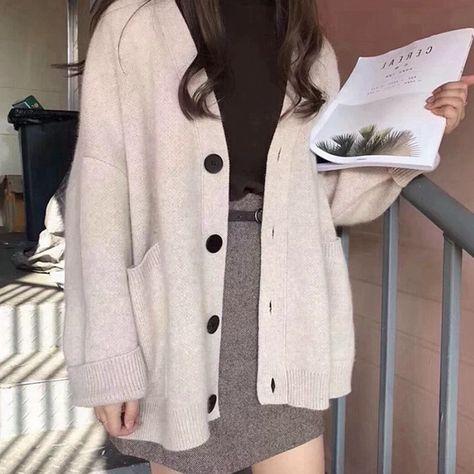Autumn cardigan v-neck pocket knitted sweater long sleeve retro Harajuku casual loose sweater