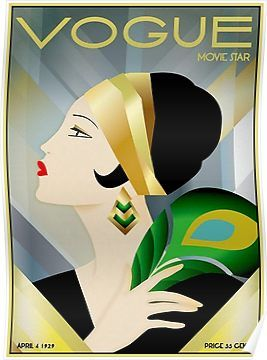 "Vogue Emerald Green Hat Girl Glam Poster Fashion Couture Illustration 5/""X7/"""
