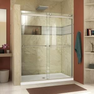 Flexstone Royale 36 In X 60 In X 80 In 11 Piece Easy Up Adhesive Alcove Bathtub Shower Wall Surround In Mocha Travertine Ssk60367831mt Bypass Shower Door Semi Frameless Shower Doors Frameless Bypass Shower Doors
