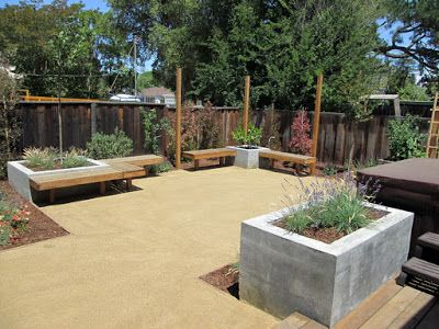 A Tan Decomposed Granite Patio Replaced The Brown Lawn. The Open Layout  Gives Enough Space For Inclusion Of Tables And A Fire Pit When Entertainingu2026