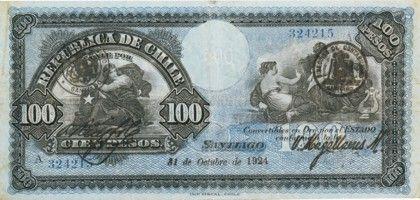 Chile 100 Pesos 1924.   Банкнота, Деньги