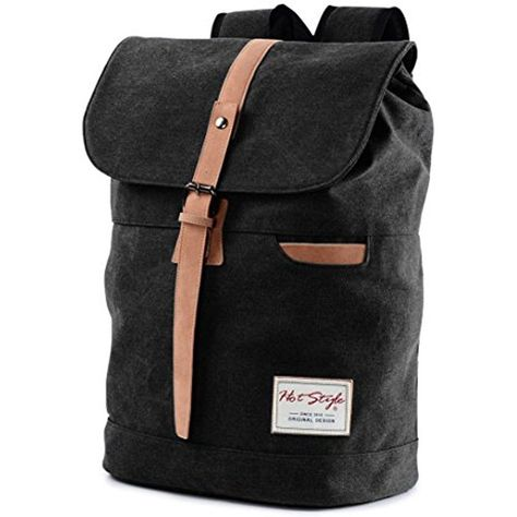 Vintage Canvas Backpack - HotStyle Waterpoof Travel Rucksack Fits 15.6 inch - #hotstyle