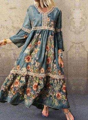 FloryDay / Casual Floral Tunic V-Neckline Shift Dress Simple Dress Casual, Simple Dresses, Casual Dresses, Modest Fashion, Women's Fashion Dresses, Cotton Dress Indian, Floryday Vestidos, Hippie Style Clothing, Stylish Dresses For Girls