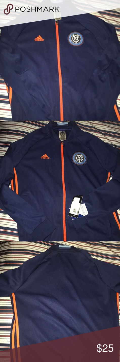 NYCFC Women's Track Jacket New with tags but the tags fell off the jacket . Still have them.. Adidas Women's Track Jacket Navy with orange trimming and has pockets ... size medium with full zipper..any questions please ask before purchasing thank you adidas Jackets & Coats