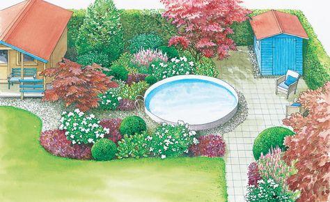 1 Garten 2 Ideen Gestaltungsideen Fur Einen Swimmingpool Garten Gartengestaltung Und Gartenecke