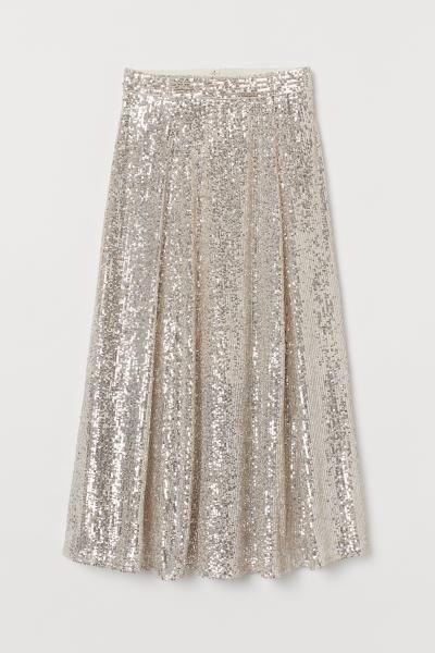 Calf Length Sequined Skirt Light Beige Ladies H M Gb Jupe A Paillettes Tenue Jupe Paillette Jupe A Sequins