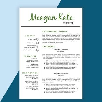 Teacher Resume Template Educator Resume Template For Word And Pages  Principal Resume