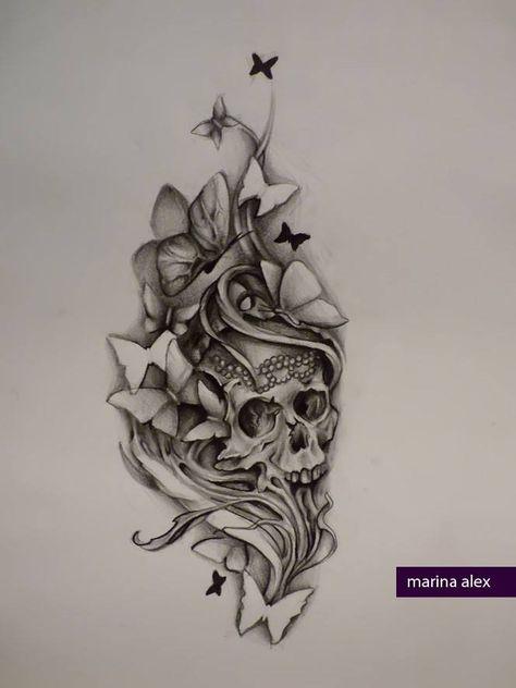 Butterflies And Skull Con Imagenes Tatuajes De Calaveras